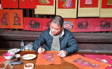 Tranh Kim Hoàng trên giấy đỏ