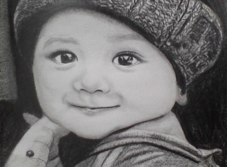 Ký họa chân dung trẻ em bằng chì