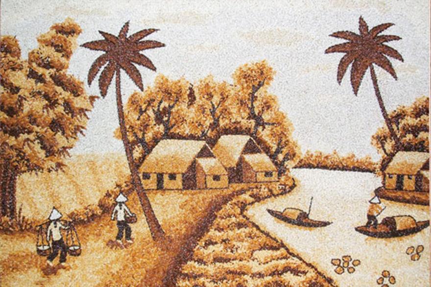 Tranh gạo: Nghệ thuật của hồn Việt