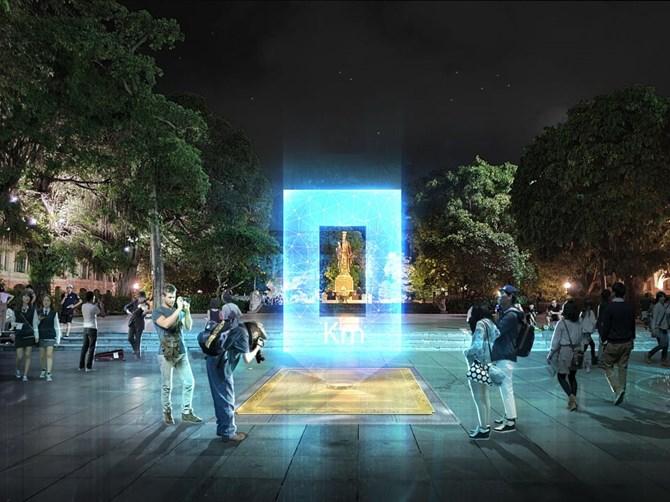 """""""Cổng ánh sáng"""": Giải Nhất cuộc thi thiết kế cột mốc Km 0 của Thủ đô"""